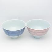 夫婦茶碗・呉須千段・青赤ペアーセット