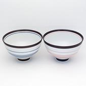 夫婦茶碗・呉須錆線紋ペアー