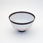 飯碗(茶碗)・呉須錆線紋/赤