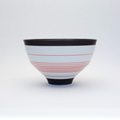 段付飯碗(茶碗)・呉須錆線紋 赤